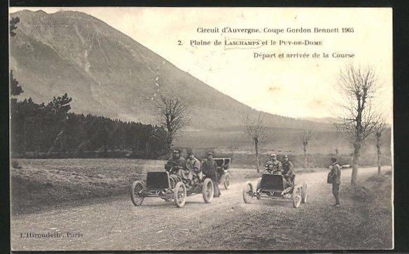 AK Laschamps, Circuit d` Auvergne, Coupe gordon Bennett 1905, Plaine de L. et le Puy-de-Dome, Autorennen