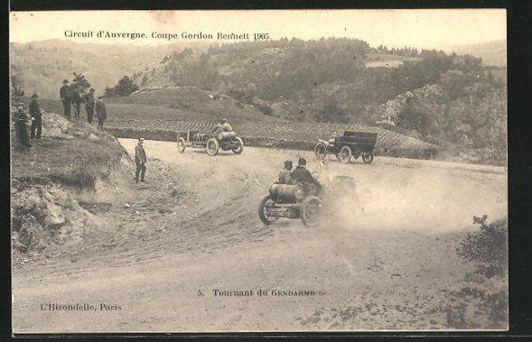 AK Auvergne, Circuit d`Auvergne, Coupe Gordon Bennett 1905, Tournant du Gendarme, Autorennen