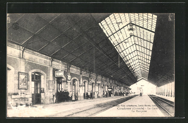 AK Coutras, La Gare, Bahnhof mit Bahnsteigen