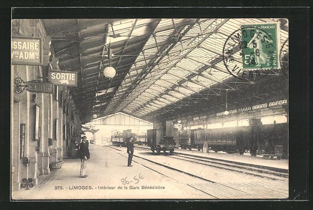 AK Limoges, Intérieur de la Gare Bénédictins, Bahnhof, Bahnsteige