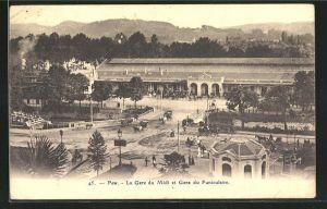 AK Pau, La Gare du Midi et Gare du Funiculaire, Bahnhof