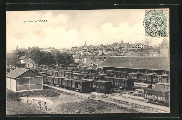 AK Dorat, La Gare, Bahnhof mit Güterzügen