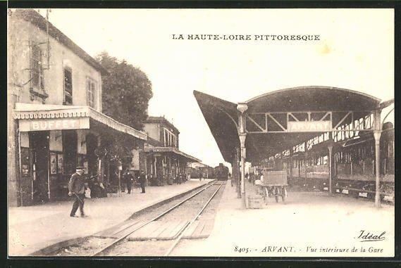 AK Arvant, Vue interieure de la Gare