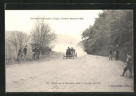 AK La Roche Percee, Circuit d`Auvergne, Coupe Gordon Bennett 1905, Route de la Baraque, Autorennen