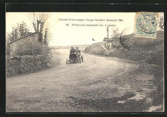 AK Nebouzat, Circuit d`Auvergne, Coupe Gordon Bennett 1905, tournant des 4 routes, Autorennen