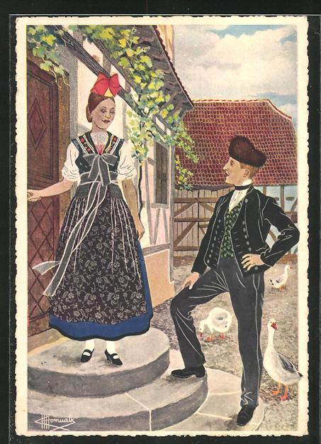 Künstler-AK Charles Homualk: Oberseebach, junges Paar in Tracht