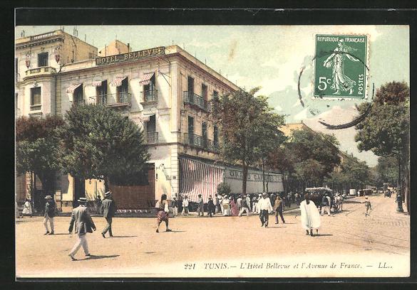 AK Tunis, L`Hotel Bellevue et l`Avenue de France