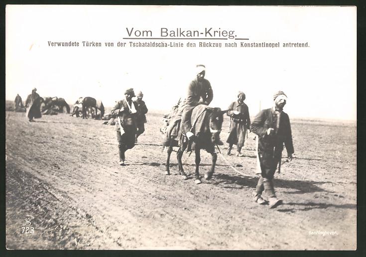 Fotografie Ansicht Tschataldscha, verwundete Türken treten den Rückzug nach Konstantinopel an, 1.WK