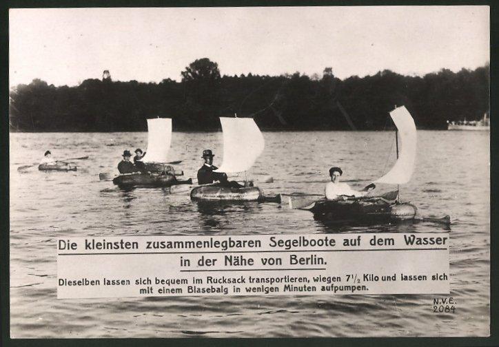 Fotografie die kleinsten zusammenlegbaren Segelboote in der Nähe von Berlin