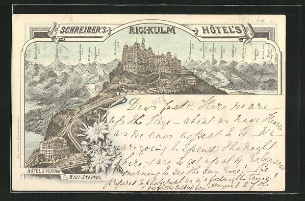 Vorläufer-Lithographie Rigi-Kulm, 1893, Schreiber's Hotel, Hotel & Pension Rigi-Staffel