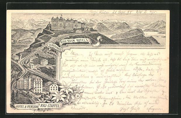 Vorläufer-Lithographie Rigi-Kulm, 1895, Schreiber's Hotel, Hotel & Pension Rigi-Staffel