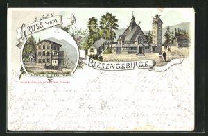 Vorläufer-Lithographie Brückenberg, 1895, Kirche Wang, Hotel an der Kirche Wang