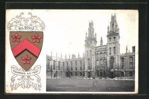 Präge-AK Oxford, Ortsansicht, Studentenwappen All Souls