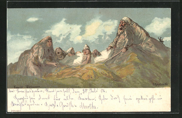 Künstler-AK Rudolf Reschreiter: Familie Watzmann, Berg mit Gesicht / Berggesichter