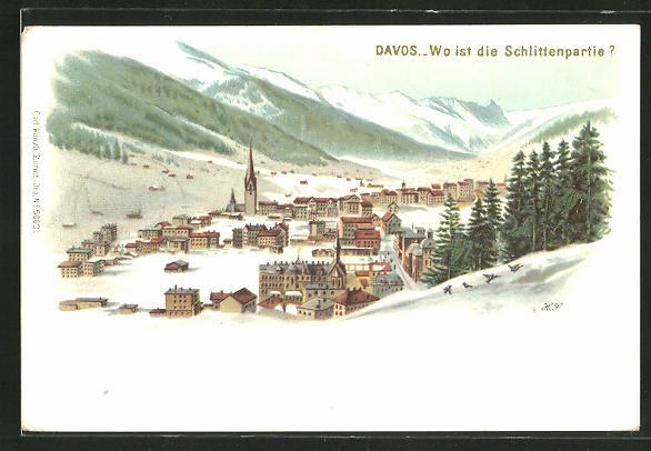 Winter-Lithographie Davos, Wo ist die Schlittenpartie, Bilderrätsel, opt. Täuschung