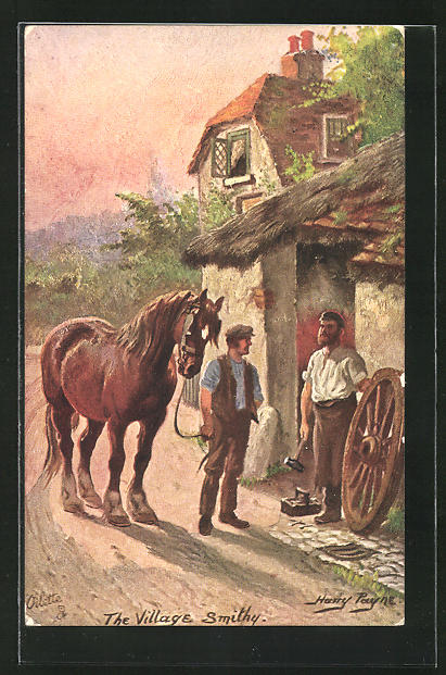 Künstler-AK Harry Payne: The Village Smith, Der Dorfschmied