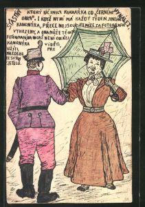 Künstler-AK Handgemalt: Soldat und Dame mit Schirm