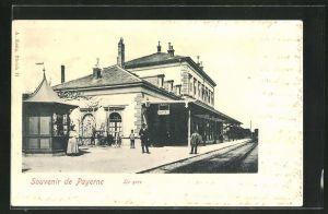AK Payerne, La Gare, Ansicht vom Bahnhof