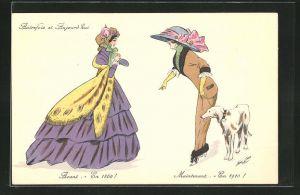 Künstler-AK Xavier Sager: Autrefois et Aujourd`hui, Mode 1860 und 1910