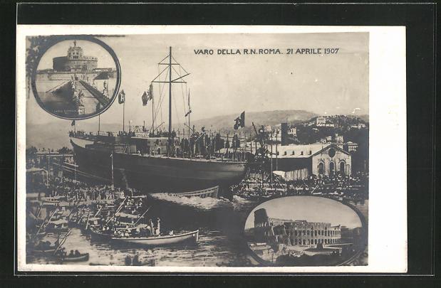 AK Stapellauf des Kriegsschiffes Roma