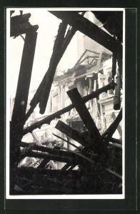 Foto-AK Heiden, Brand der Kirche 14.8.1936