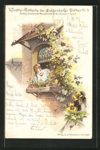 Künstler-AK Meggendorfer Blätter Nr. 3: Mädchen am Fenster und Stiefmütterchen