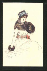 Künstler-AK A. Zandrino: Elegante Dame im Wintermantel mit Hut