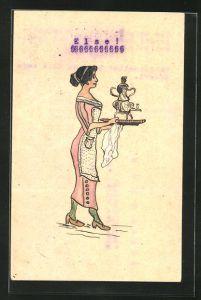 Künstler-AK Handgemalt: Dienstmädchen serviert Tee im Samowar