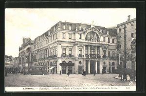 AK Lisboa, Avenida Palace e Estacao Central do Caminho de Ferro, Strassenbahn am Bahnhof
