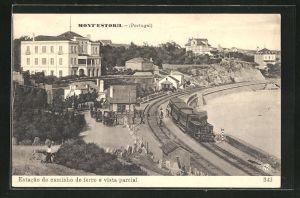 AK Montestoril, Estacao do caminho de ferro e vista parcial, Bahnhof