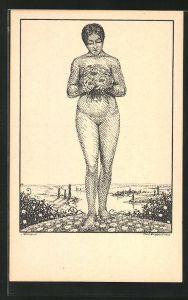 Künstler-AK K. Blossfeld: nacktes Mädchen mit Blumenstrauss