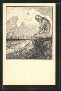 Künstler-AK K. Blossfeld: Alter nackter Mann am Abend am See sitzend