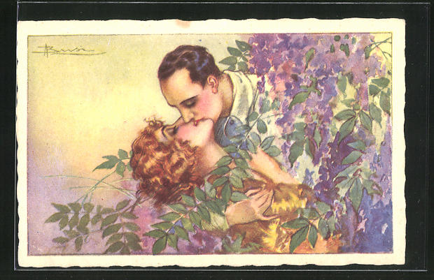 Künstler-AK Adolfo Busi: küssendes Paar von Blumen umrahmt