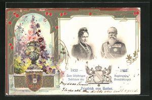 Passepartout-Lithographie 50 jähriges Regierungsjubiläum des Grossherzogs Friedrich von Baden 1902