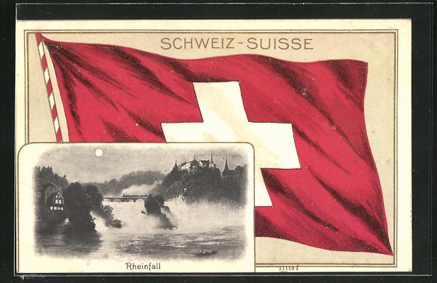 Passepartout-Lithographie Schaffhausen, Rheinfall bei Vollmond, Schweizer Flagge