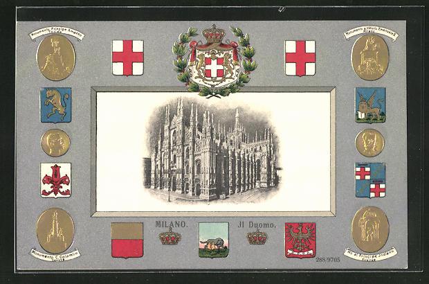 Passepartout-Lithographie Milano, Il Duomo, Wappen