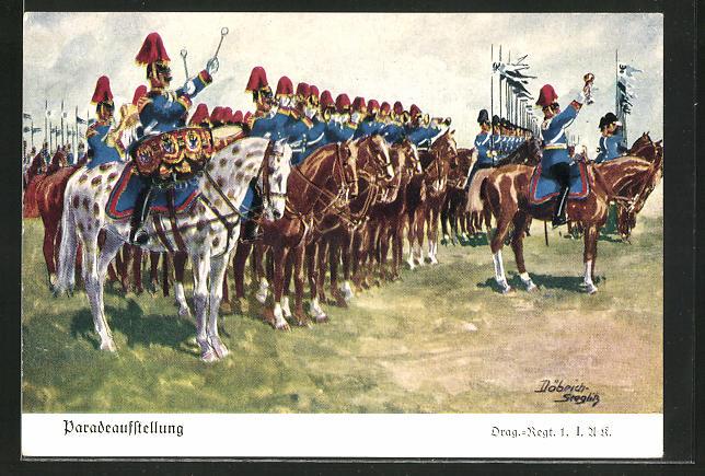 Künstler-AK Döbrich-Steglitz: Paradeaufstellung des Dragoner-Regiments 1. I. A. K.