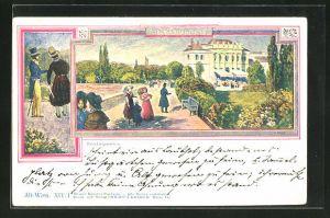 Künstler-AK Philipp + Kramer Nr. XIV /1: Alt-Wien, Paradiesgärtchen, Flaneure im Garten