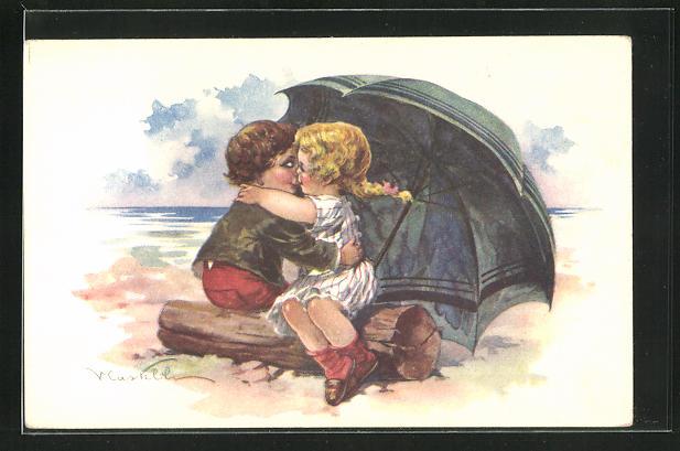 Künstler-AK Castelli: ein Junge und ein Mädchen mit Zopf küssen sich auf Baumstamm unter Schirm versteckt