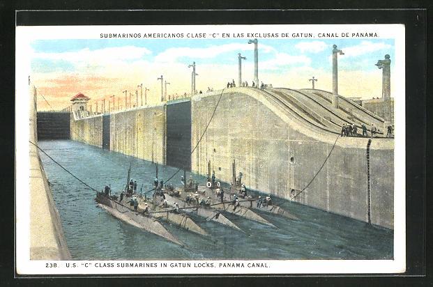 AK Panama, Submarinos americanos Clase C en las exclusas de Gatun, Canal de Panama