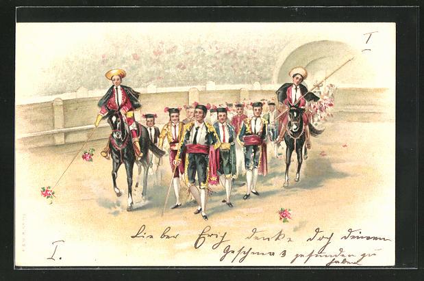 AK Stierkampf, Einzug der Toreros in die Arena mit Pferden