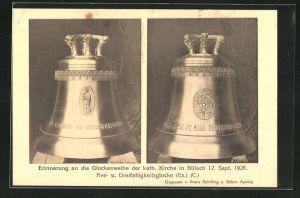 AK Zürich, zwei Glocken, Erinnerung an die Glockenweiher der kath. Kirche in Bülach 1926, Ave und Dreifaltigkeitsglocke