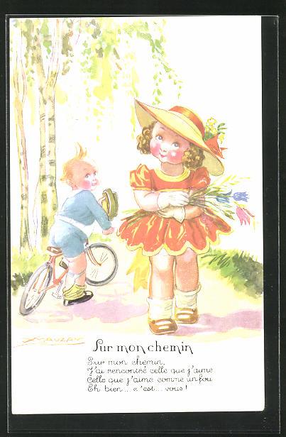 Künstler-AK Mauzan: Sur mon chemin, Junge mit Fahrrad u. Mädchen mit Blumenstrauss