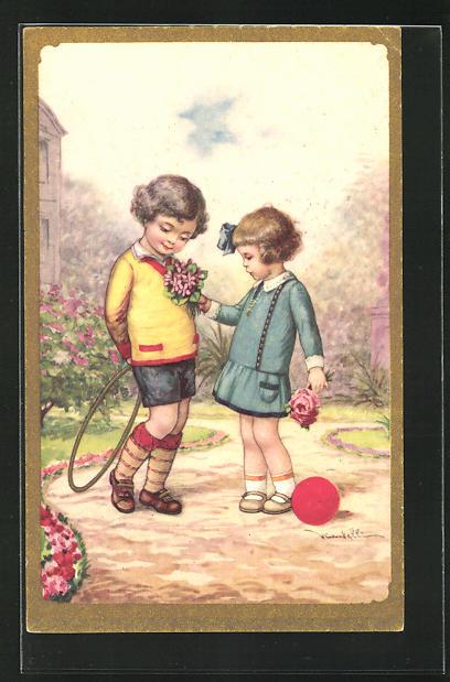 Künstler-AK Castelli: Junge mit einem Reifen und Mädchen mit einem Ball und Blumen