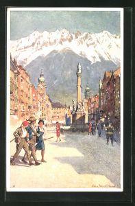 Künstler-AK Edo v. Handel-Mazzetti: Innsbruck, Maria Theresienstrasse mit Anna-Säule