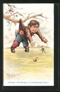 Künstler-AK Max Kuglmayr: Junge mit Äpfeln in den Taschen hängt am Baum