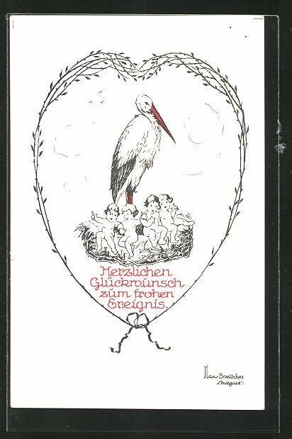 Künstler-AK Hans Boettcher: Storch mit Kindern im Storchennest, Glückwunsch zur Geburt