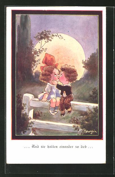 Künstler-AK Fred Spurgin: Junge und Mädchen sitzen sich küssend auf einem Zaun