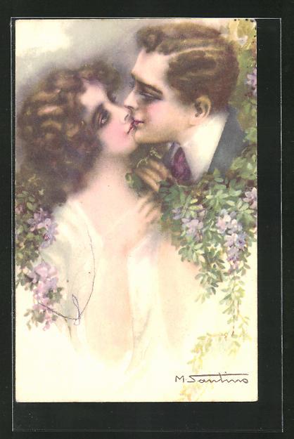 Künstler-AK M. Santino: Sich küssendes Paar mit Blumen