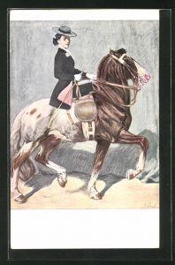 Künstler-AK Angelo Jank: Im Sattel, Dame mit Hut reitet auf einem Pferd
